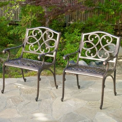 McKinley Cast Outdoor Chair - Set of 2 - The appeal of cast iron without all the rust and weight is ready for you to enjoy with the McKinley Cast Outdoor Chair - Set of 2. Combining those classic, intricate details with modern materials, this lightweight set of outdoor chairs feature delicate curves and ergonomic comfort under a shiny copper finish. Aluminum is an ideal outdoor material, as it won't rust or corrode when exposed to the elements.About Best Selling Home Decor Furniture LLC Best Selling Home Decor Furniture LLC is a US-based company dedicated to providing you with a wide variety of fine furniture. With sales and manufacturing offices in Europe and China, as well as the ability to ship to anywhere in the world, no one is excluded from bringing these lovely pieces home. From outdoor to indoor furniture, children's furniture to ottomans and home accessories, all your needs will be met with attractive, high quality products that will last.