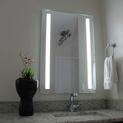 LED Striped Illuminated Mirror - Lighted Image presents this sharp and edgy design. This LED illuminated bathroom mirror features two bold stripes of LED lighting down each side.
