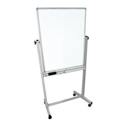 Luxor Furniture - 29 in. Reversible Whiteboard - Luxor MB whiteboard series are made from magnetic reversible whiteboards on both sides. Boards feature a silver frame around the whiteboard. Includes 4 casters for easy mobility. Boards lock into place when in position. Aluminum Frame, Painted Galvanized Steel Board. White paint finish on main frame. Assembly required. Frame base is 29.875 in. W x 20.5 in. D x 68 in. H ( 18 lbs. )
