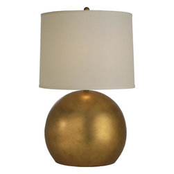 Joshua Marshal - One Light Hand Painted Antique Gold Off-White Linen Shade Table Lamp - One Light Hand Painted Antique Gold Off-White Linen Shade Table Lamp