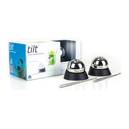 soireehome - Tilt Gourmet Replacement For Ice, Set of 2 - The gourmet's replacement for ice, tilt, keeps drinks and food ice cold without diluting flavor.  Tilt is made of food grade stainless steel and has a non-toxic medical grade freezer gel inside.  Tilt's classic design is embedded with a chilling technology that preserves flavor and lasts longer than ice. Simply store tilt in the freezer and give any drink, punch, cold soup, or dip a lasting chill without compromise. Tilt comes with stainless steel retrieval hooks which are cleverly disguised as a cocktail stirrer and garnish stick - keeping your fingers out of your food & drink. When not in use, tilt can be stored in the freezer in the  bases. Includes  (2) Stainless Steel Chilling Spheres,  (2) Metallic Stirrer/Garnishing Sticks and  (2) Silicone Bases
