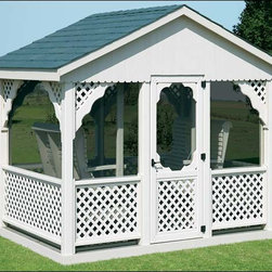 Fifthroom - Vinyl Gable Gazebo Swing - Screened -