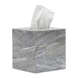 """Pigeon & Poodle - Pigeon & Poodle Milan Tissue Box Cover - Sleek style defines the aesthetic of the Pigeon & Poodle Milan tissue box cover. Showcasing clean lines, this gray Romblon stone accessory exudes a marble-like aesthetic. 5.5""""W x 5.5""""D x 5.75""""H; Due to handmade quality, natural variations may occur"""