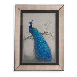 Bassett Mirror - Bassett Mirror Framed Under Glass Art, Peacock Blue II - Peacock Blue II