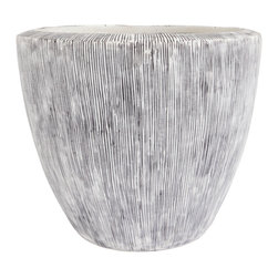 Gold Leaf Design - Mizo Etched Planter - Light grey planted with contrasting dark grey etched lines.