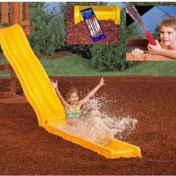 PlayStar Playsets Water Slide Kit - As if your PlayStar slide isn't exciting enough, now you can add a water park surprise at the bottom. The PlayStar Water Slide Kit adds splashy fun to your slide, with up to 4 inches of water. It's self-draining when not in use, so you won't have any stagnant water. A water cannon with hose attachment is included, just to make sure everyone gets equally soaked.About PlayStarPlayStar was started in the Heartland of America, in the garage of an entrepreneur with this dream: to build a foundation of people who were hardworking, friendly, professional and self-motivated to do the right thing, to offer the ultimate customer service and provide the highest value, best quality and most innovative products. All PlayStar Playsets are designed following company safety standards that exceed government guidelines, to enhance your child's physical development and social skills.