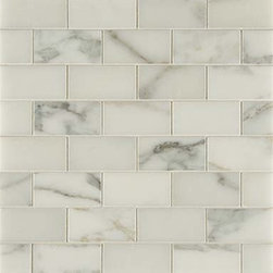 """3""""x6"""" Calacatta Gold with Straight Edge - Polished - Polished 3""""x6"""" Calacatta Gold Subway Tile - a great alternative to Carrara Marble tile if you're looking for a white marble that's a little warmer and less gray. Works well as a kitchen backsplash or as bathroom wall tile."""