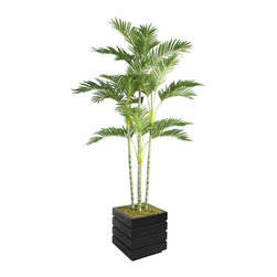 Laura Ashley - Laura Ashley 74-inch Tall Palm Tree and 14-inch Fiberstone Planter - Lend a natural element to your home or office decor with this 74-inch tall exotic palm tree. Wide,green palm fronds and a rich natural trunk make up this this tranquil tree. Lent an inviting touch to your decor with this Laura Ashley palm tree.