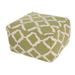 "Jaipur Rugs - Green/Ivory Handmade 100% Cotton Pouf (24""X24""X13"") - The Cadiz collection is a modern collection of square poufs hand woven from 100% cotton. The  casual pouf collection uses strong simple geometrics in bold colors and can be easily  coordinated with the Jaipur Urban Bungalow and Maroc flat weave rug collection."