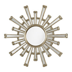 """Lamps Plus - Accent Cameron Sunburst Silver Finish 36"""" Wide Wall Mirror - Mini mirrors shaped to look like the rays of the sun surround this wall mirror. The silver finish that frames the sun's """"rays"""" and inner mirror gives it a touch of texture and modernity. Each tiny mirror will help to scatter the light it reflects giving a more open feel to the room. Silver finish. Polyurethane frame. Mirror glass only is 11"""" wide. 1"""" bevel. 36"""" wide. 38"""" high.  Silver finish.   Polyurethane frame.   1"""" bevel.   Mirror glass only is 11"""" wide.   36"""" wide.   38"""" high."""