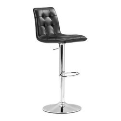 Zuo Modern - Zuo Modern Oxygen Bar Stool, Black - The Oxygen Black Bar Stool offers a button tufted design to add a stylish look to your space. Featuring metal frame and chrome base for durability, this bar stool allows you to set the stool height to a level that is comfortable for you. The black color matches many home interiors, and the leatherette wrapped seat is washable and easy to clean.