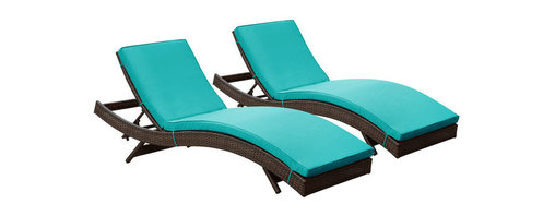 Modway Furniture - Modway Peer Chaise Set of 2 in Brown Turquoise - Chaise Set of 2 in Brown Turquoise belongs to Peer Collection by Modway Don't let moments of relaxation elude you. Peer is a serenely pleasant piece comprised of all-weather cushions and a rattan base. Perfect for use by pools and patio areas, chart the waters of your imagination as you recline either for a nap, good read, or simple breaths of fresh air. Moments of personal discovery await with this chaise lounge that has fold away legs for easy storage or stackability with other Peer lounges. Set Includes: Two - Peer Outdoor Wicker Chaise Chaise (2)