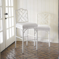 Ballard Designs - Dayna Counter Stool - Coordinates with our Dayna Arm & Side Chairs. Available in 2 finishes. Our Dayna Counter Stool captures the sophisticated soul of Chinese Chippendale styling. Solid beech wood frame is artisan crafted with classic fretwork hand finished with bamboo-inspired turnings. Richly padded linen blend seat removes for easy recovering. Dayna Counter Stool features: . .