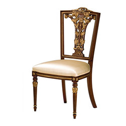"Inviting Home - Hepplewhite Style Side Chair - Hepplewhite style carved beechwood side chair; overall dimensions: 23""W x 22-1/2""D x 40-1/2""H; seat: 23""W x 22-1/2""D x 20""H; back: 40-1/2""H; arms: 28-1/2""H; hand-made in Italy; Hepplewhite style carved beech wood chairs. Hepplewhite chairs have antique walnut finish and antiqued gold leaf trim. These occasional chairs are hand-crafted in Italy."