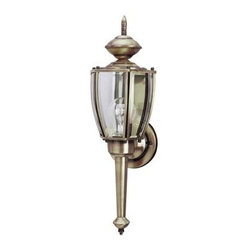 Westinghouse - Westinghouse Outdoor Lanterns. 1-Light Antique Brass on Solid Brass Steel Exteri - Shop for Lighting & Fans at The Home Depot. Light a deck or entryway while adding traditional style to your home's exterior with this Westinghouse wall lantern. The antique brass finish has timeless appeal, while the clear curved beveled glass panels allow optimal light passage. A finial on top and tail on bottom add to the classic aesthetic. Constructed from steel and solid brass, this lantern is both durable and lightweight. Install the fixture on your porch or by your garage door. You can also use it to accent to your patio or balcony. Wherever you mount it, you will enjoy the lantern's bright light and traditional look. The lantern is 18-1/2 in. x 5-3/4 in. (H x W), and it extends 6 in. from the wall. It is 11-1/2 in. high from the center of the outlet box. The round back plate has a diameter of 4-1/2 in. This Westinghouse lantern is UL listed for safety. It is backed by a 5-year warranty against defects in materials and workmanship.