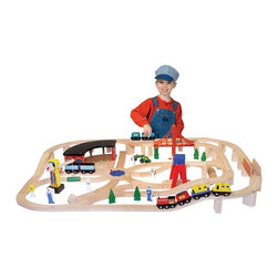 "Melissa & Doug - Melissa and Doug 130 Piece Wooden Railway Set Brown - 701 - Shop for Vehicle Playsets and Accessories from Hayneedle.com! The 130-piece Wooden Railway Set offers countless hours of creative imaginative play for your child. This set includes over 130 pieces including wooden track sections train structures and scenery. You can even use this set together with other wooden railway sets to allow your child to create a whole world of fanciful fun. About Melissa and Doug ToysSince 1988 Melissa and Doug have grown into a beloved children's product company. They're known for their quality educational toys and items and have grown in double digits annually. The Melissa and Doug company has been named Vendor of the Year by such great retailers as FAO Schwarz Toys R Us and Learning Express and their toys have been honored as ""Toys of the Year"" by Child Magazine FamilyFun Magazine and Parenting Magazine. Melissa and Doug - caring quality children's products."