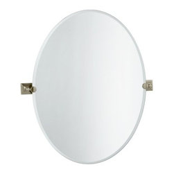 "Gatco - ""Gatco Meridian Large Oval Wall Mirror, Satin Nickel"" - ""Gatco Meridian Large Oval Wall Mirror, Satin Nickel A good mirror is a reflection on the rest of your bathroom. A Meridian rectangle (or oval or round) mirror could be the mirror you are looking for. Traditionally elegant, its timeless beauty suggests our American Heritage. Handcrafted to perfection, each piece is a mark of distinction. If you are fond of this product you will love the rest of the Meridian Collection from Gatco, with its elegant style, to complete your bathroom accessory suite. 4289LG Size: Large Oval Features: -Traditional Style.-Square wall attachment.-Beveled.-Large Oval.-Small Oval.-Rectangle. Options: -Available in a satin nickel finish. Dimensions: -Large : 32"""" H, 23.5"""" W.-Small : 26.5"""" H, 19.5"""" W.-Rectangle : 31.5"""" H, 24"""" W."""