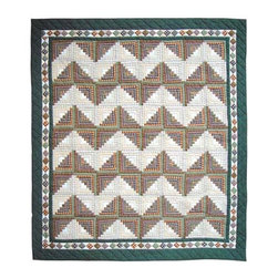 Patch Quilts - Peasant Log Cabin Queen Quilt - -Constructed of 100% Cotton  -Machine washable; gentle dry  -Made in India Patch Quilts - QQPLC