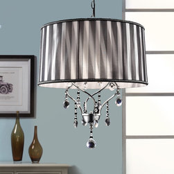 Tribecca Home - TRIBECCA HOME Acel 1-light Crystal Pendant Chandelier - This Acel one-light crystal pendant chandelier adds romantic touch to any setting. The black sheer ribbon shade and glittering hanging crystals diffuse light gently across the open space,and the chrome finish is compatible with nearly any color scheme.
