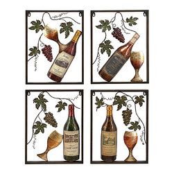 UMA - Vineyard Blessings Wine Bottle Metal Wall Hanging Set of 4 - Four panels feature wine bottles and wine goblets in an open framework beneath pods of ripe grapes and vines