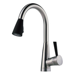 "Brizo Venuto Single Handle Pull-down Kitchen Faucet With Softtouch - STRONG. CALM. SOPHISTICATED. | a welcome change | Strong lines, geometric appearance create a focal point for any kitchen, Two function pull-down: stream and spray, Features euro-motion Diamond Valve with Innoflex waterways and MagneDock magnetic wand docking system, Holes for installation: Single hole installation, Length: 9-1/2"" Height: 15-1/2"", Flow rate: 1.8 gpm @ 60 psi, 6.8 L/min @414 kPa 