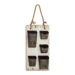 Wood Metal Wall Organizer - Description: