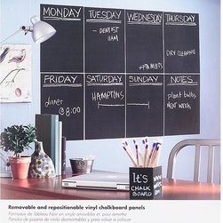 Removable Chalkboard Wallies - Get organized without commitment! Not only can you wipe this chalkboard decal clean, you can also move it around, whether you need it in the kitchen, home office, or child's room.