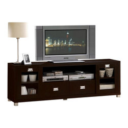 """Acme - Commerce Collection Espresso Finish Wood TV Stand Entertainment Center Console - Commerce collection espresso finish wood TV stand entertainment center console with glass front doors. This set features glass front doors and an open storage area. Measures 69"""" x 15"""" x 23"""" H. Some assembly required."""