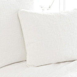 Pine Cone Hill - PCH Baja's Matelasse Pillow Sham - Interlocking rectangles of soft cotton create a stimulating pattern on the Baja Matelasse pillow sham. Highlight bedding with the gorgeous texture of this soft and simple sham from PCH. Available in standard and euro sizes; 100% cotton; Available in ivory and white; Pillow insert not included; Zipper closure; Sold individually; Designed by Pine Cone Hill, an Annie Selke company; Get this look with the PCH Baja Matelasse coverlet, the PCH Parchment duvet cover and the PCH Parchment pillow sham; Machine wash cold, tumble dry low; Do not bleach