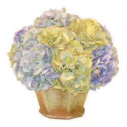 The French Bee - Hydrangea in Garden Pot - Ideal for your sheltered patio, doorstep or kitchen counter top, this subtle silk hydrangea arrangement in an aged terra cotta pot recalls rustic European countrysides. You'll love its natural shades of pale green and lavender and the realistic faux moss growing on the pot. Best of all, it will remain fresh for years with nothing but light dusting.