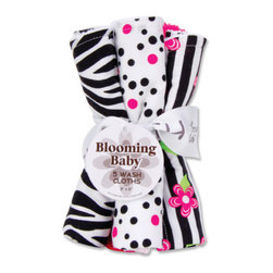 "Trend Lab - Bouquet 5 Pack Wash - Zahara - Trend Lab's Zahara Wash Cloth Set makes bath time fun! Set features five wash cloths each with fun, modern prints and solids on the front and terry on the back. Wash cloth patterns include: one black and white zebra print, two black and paradise pink confetti dot prints on white backgrounds, one black and white stripe print with paradise pink and electric lime floral accents and one that has solid paradise pink rosette velour. Each wash cloth measures 8"" x 8""."