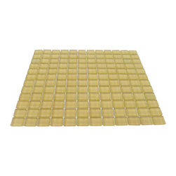 "Loft Honeysuckle Glass Tiles - Loft Honeysuckle 1 x 1 Glass Tile Add a happy bursts of color to any room with this beautiful glass tile. This colorful design will give your kitchen, bathroom or any decorated room a bright, fresh look. Chip Size: 1x1 Color: Cream Yellow Material: Glass Finish: Polished Sold by the Sheet - each sheet measures 12"" x 12"" (1 sq. ft.) Thickness: 8mm"