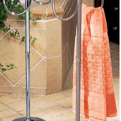 Standing Floor Towel Ring - This Standing Floor Towel Ring is a perfect alternative for hanging your bath towels. It features two rings for hanging your towels where you need them most.