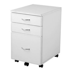 Eurostyle - Eurostyle Laurence Leather High File Cabinet in White Leather & Chrome - Leather High File Cabinet in White Leather & Chrome belongs to Laurence Collection by Eurostyle Add a modern,savy touch to your office with the Laurence leather high file cabinet. This file unit has leather covered MDF with chrome drawers fulls and casters. The bottom file drawers if supported by an extra caster. The drawers hold letter or legal files. This file cabinet will be a great addition to any office! File Cabinet (1)