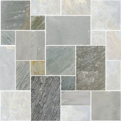 Shiba Pattern Slate Tile, Moss Green Brushed - This slate pattern is simply stunning and would look fabulous in an entryway.