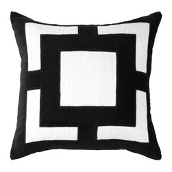 "Bandhini - Panel Black Lounge Throw Pillow - This plush lounge pillow's contemporary design exudes eye-catching sophistication on a sofa or bed. On a white cotton background, a black geometric velvet panel lends makes a simple yet stunning statement. Made from 80% cotton, 20% velvet. Dry clean. Grey goose down fill insert included. 21""W x 21""H."