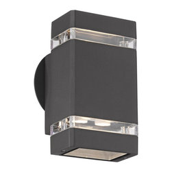 "Possini Euro Design - Possini Euro Bronze 8"" High LED Up/Down Outdoor Wall Light - When it comes to beautifying your home your outside space can feel neglected. After all you do spend most of your time with your interior furnishings right? Rectify that situation by installing this sleek contemporary outdoor wall light. It enhances your home's exterior with a lovely bronze finish clear glass and energy-efficient LED lighting in both up and down directions. From the Possini Euro Design outdoor lighting collection.  Clear glass.  Bronze finish.  Includes eight 1 watt LEDs.  Warm white 2900-3100K color temperature.   Light output is 455 lumens.  Comparable to a 40 watt incandescent bulb.  Not dimmable.  8"" high.   4 1/4"" wide.   Extends 4"" from wall."