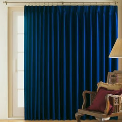 Supreme Thermal Pinch-Pleat Patio Panel, Dress Blue - OK, I'm going to admit that I haven't always been a huge fan of blue. But sometimes when you're pushed out of your comfort zone, good things evolve. I'm loving these royal blue pinch-pleat drapes. They are so presidential and will drape nicely on either side of the curved window wall.