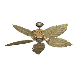 """Outdoor Ceiling Fans (Damp Rated) - The Tiki Outdoor Tropical Ceiling Fan w/ 52"""" Sweep ABS Plastic Venetian Blades, with its tropical bamboo frame housing, offers a exotic appeal in a damp location fan. The super high performance motor allows plenty of power to move air efficiently. The base finish of the Tiki is Antique Bronze."""