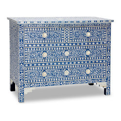 Sapphire & Bone Inlay Chest of Drawers