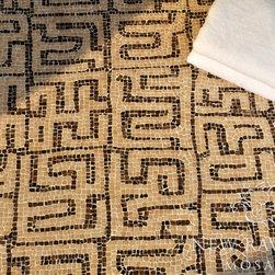 Kuba Stone Mosaic - Kuba, a hand chopped tumbled natural stone mosaic, is shown in hand chopped tumbled Rosa Portagallo and Emperador Dark.