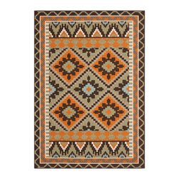 "Grandin Road - Nellie Outdoor Area Rug - 2'7"" x 5' - Discover comfort and style underfoot with Nellie in your outdoor room. A traditional motif gets a modern, pixelated makeover in lively hues of terracotta, sage, soft blue, ivory, and chocolate brown. The durable synthetic construction gives this rug real staying power, even when exposed to the elements and high traffic environments.Durable and easy-care outdoor rug. 100% polypropylene fibers shrug off the elements. Low profile, power loomed construction. Hoses clean. Extend the life of your rug with an Outdoor Rug Grip (sold separately)."