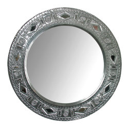 """Natural Tin Round Chinese Mirror - This hand made natural tin mirror is a beautiful accent piece.The round shape adds versatility of placement. Created by talented Mexican metal crafters. Visit our website to see more. Each is unique so variations in design, size and finish may occur. 32"""" dia. x 1.5"""" d Free Shipping in Continental U.S."""