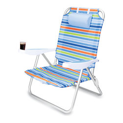 "Picnic Time - Monaco Beach Chair - Black - The Monaco Beach Chair is the lightweight, portable chair that provides comfortable seating on the go. It features a 34"" reclining seat back with a 19.5"" seat, and sits 11"" off the ground. Made of durable polyester on an aluminum frame, the Monaco Beach Chair features six chair back positions and an integrated cup holder in the armrest. Convenient backpack straps free your hands so you can carry other items to your destination. Rest and relaxation come easy in the Monaco Beach Chair! Features :"