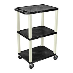 """Luxor - H Wilson Presentation Cart - WT42E - All 18"""" D x 24""""W shelves have a 1/4"""" safety retaining lip and a raised texture surface."""