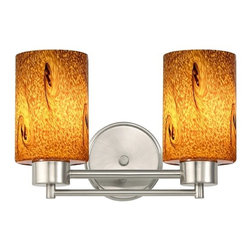 Design Classics Lighting - Satin Nickel Modern Bathroom Light with Brown Art Glass - 702-09 GL1001C - Contemporary / modern satin nickel 2-light bathroom light. Takes (2) 100-watt incandescent A19 bulb(s). Bulb(s) sold separately. UL listed. Damp location rated.