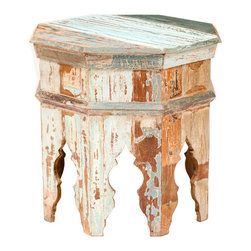 "Vintage Octagonal Stool - This eclectic side table adds a bit of Moroccan exotic style as well as that worn look. It's the ""something old"" that every room needs, and it will add a layer of global style to any room in your house, whether you use it as a coffee table (perhaps a pair of them instead of a coffee table), a side table, a stool or a nightstand."