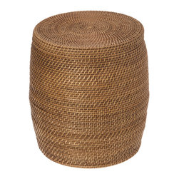 KOUBOO - Round Rattan Storage Stool, Honey-Brown - Beautifully hand crafted from Rattan this stool serves an array of purposes. As a decorative piece to sit on or used as a side table, this stool provides also additional storage for clutter no one is supposed to see. Place it in your or your kid's bedroom, your home office or family room. It feature a removable liner to protect more delicate content.