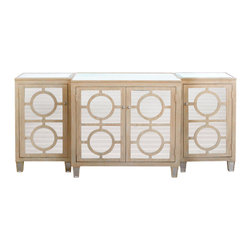 """Worlds Away - Worlds Away Ava Limed Oak Buffet - Revisiting the glitz and glam of Hollywood Regency style, Worlds Away pairs geometric wood cut-outs with mirror for a striking modern look. Ava brings a hint of drama, easily repurposed from a buffet for the dining room to a console in the living space. 35""""H x 79""""W x 22""""D; Solid hardwoods; Limed oak bleached wood finish; Mirror drawer fronts and inset, beveled top; 3 separate pieces; Fixed shelf inside center and both side cabinets"""