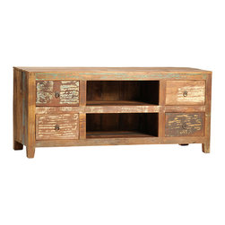 Nantucket TV Stand, Medium Brown - A charming country piece for the home, the Nantucket TV stand creates a rustic, reclaimed look around your sleek electronics. This entertainment center is hand-built from reclaimed hardwoods and finished in a sealed medium brown with highly distressed accents. It features an open center set of shelves for housing media components and four drawers for storing your media accessories. Bring the rugged and rustic charm of an old hunting lodge into the home with this beautiful media console.